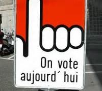 Panneau on vote aujourd'hui